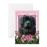Mothers Day Pink Tulips Newfie Greeting Card