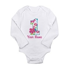 1st Birthday Tropical Long Sleeve Infant Bodysuit