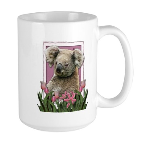 Mothers Day Pink Tulips Koala Large Mug
