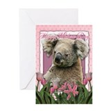 Mothers Day Pink Tulips Koala Greeting Card