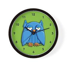 Aqua Owl green Wall Clock