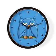 Aqua Owl aqua Wall Clock