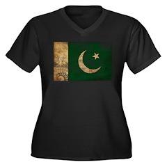 Pakistan Flag Women's Plus Size V-Neck Dark T-Shir