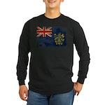 Pitcairn Islands Flag Long Sleeve Dark T-Shirt