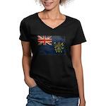 Pitcairn Islands Flag Women's V-Neck Dark T-Shirt