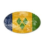 Saint Vincent Flag 38.5 x 24.5 Oval Wall Peel