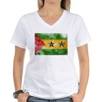 Sao Tome and Principe Flag Women's V-Neck T-Shirt