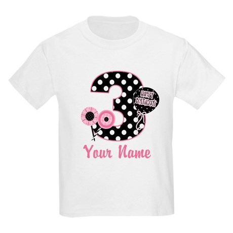 3rd Birthday Pink Black Dots Kids Light T-Shirt