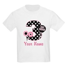 3rd Birthday Pink Black Dots T-Shirt