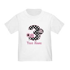 3rd Birthday Pink Black Dots T