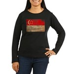 Singapore Flag Women's Long Sleeve Dark T-Shirt