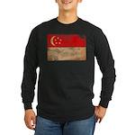 Singapore Flag Long Sleeve Dark T-Shirt