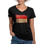 Singapore Flag Women's V-Neck Dark T-Shirt