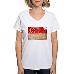 Singapore Flag Women's V-Neck T-Shirt