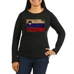 Slovenia Flag Women's Long Sleeve Dark T-Shirt