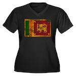 Sri Lanka Flag Women's Plus Size V-Neck Dark T-Shi