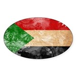 Sudan Flag Sticker (Oval)