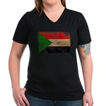 Sudan Flag Women's V-Neck Dark T-Shirt