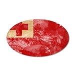 Tonga Flag 38.5 x 24.5 Oval Wall Peel