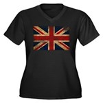 United Kingdom Flag Women's Plus Size V-Neck Dark