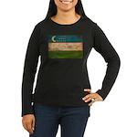 Uzbekistan Flag Women's Long Sleeve Dark T-Shirt