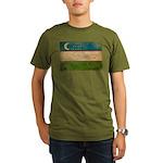 Uzbekistan Flag Organic Men's T-Shirt (dark)