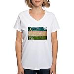 Uzbekistan Flag Women's V-Neck T-Shirt