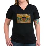 Virgin Islands Flag Women's V-Neck Dark T-Shirt