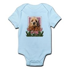 Mothers Day Pink Tulips Cocker Infant Bodysuit