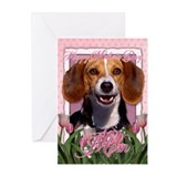 Mothers Day Pink Tulips Beagle Greeting Cards (Pk
