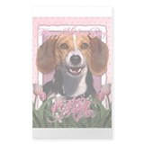 Mothers Day Pink Tulips Beagle Decal