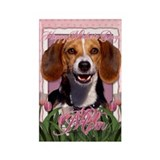 Mothers Day Pink Tulips Beagle Rectangle Magnet (1
