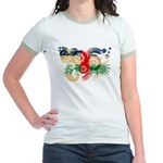 Central African Republic Flag Jr. Ringer T-Shirt