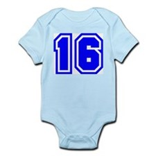 Varsity Uniform Number 16 (Blue) Infant Creeper