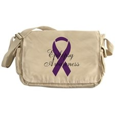 Cute Epilepsy purple ribbon Messenger Bag
