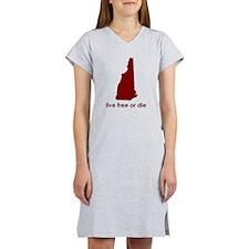 RED Live Free or Die Women's Nightshirt