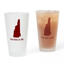 RED Live Free or Die Drinking Glass