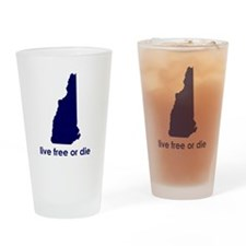 BLUE Live Free or Die Drinking Glass
