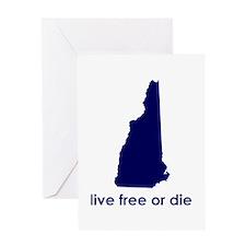 BLUE Live Free or Die Greeting Card