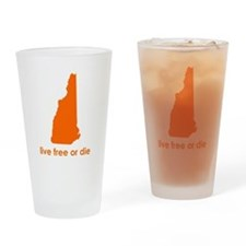 ORANGE Live Free or Die Drinking Glass