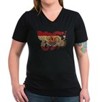 French Polynesia Flag Women's V-Neck Dark T-Shirt