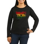 Ghana Flag Women's Long Sleeve Dark T-Shirt