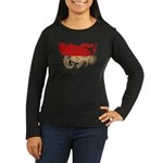 Indonesia Flag Women's Long Sleeve Dark T-Shirt