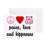 Peace Love and Hipponess Greeting Cards (Pk of 10)