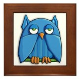 Aqua Owl Framed Tile