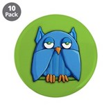 "Aqua Owl green 3.5"" Button (10 pack)"