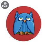 "Aqua Owl red 3.5"" Button (10 pack)"