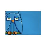 Aqua Owl aqua Rectangle Magnet (10 pack)