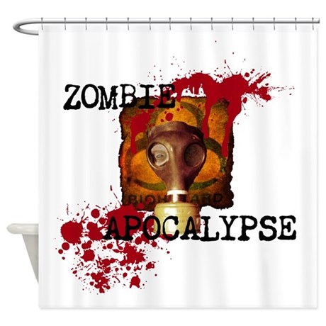 Zombie Apocalypse Biohazard Shower Curtain by ZombieGuns187