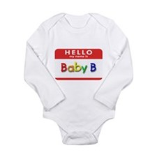 Unique Hello nametag Long Sleeve Infant Bodysuit